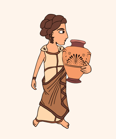 ancient greek woman with pot, vector cartoon illustration of historical female character with decoratef ceramic pot