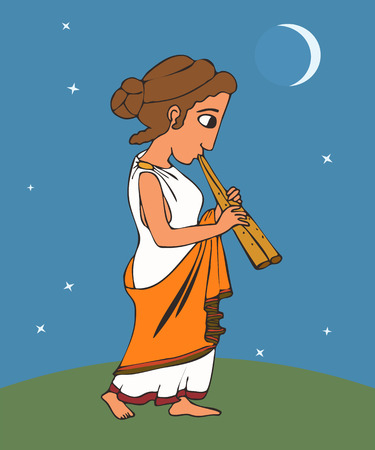 ancient greek girl playing aulos, vector colorful cartoon illustration of music origins