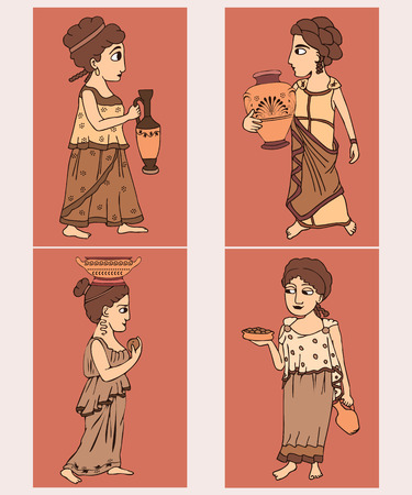 ancient greek women set, female characters in sepia colors with traditional ceramics