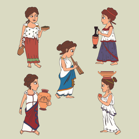 cartoon ancient greek women set, five female characters in  traditional clothing