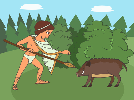 boar hunting in ancient world, young man attacks a boar with spear, vector cartoon