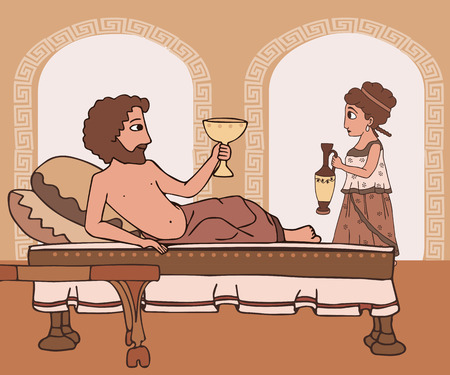 every day life in Ancient Greece, man drinking wine llying on the bed; woman bringing jug, vector cartoon historic scene