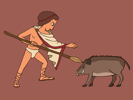 man hunting a boar with spear, vector cartoon isolated scene from ancient world history