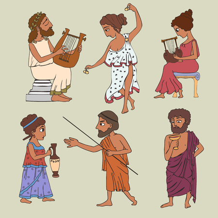cartoon ancient greek people set, six persons of classical history