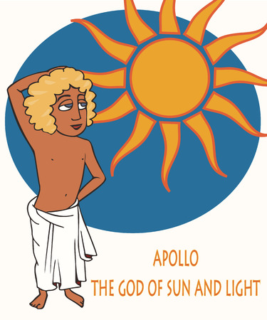 Greek Apollo God of the Sun, funny vector cartoon portrait of  god