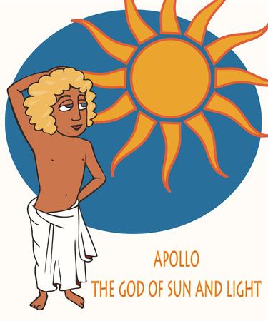Greek Apollo God of the Sun, funny vector cartoon portrait of  god