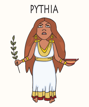 Ancient Greek Pythia, vector cartoon portrait of historical character, priestess of Apollo