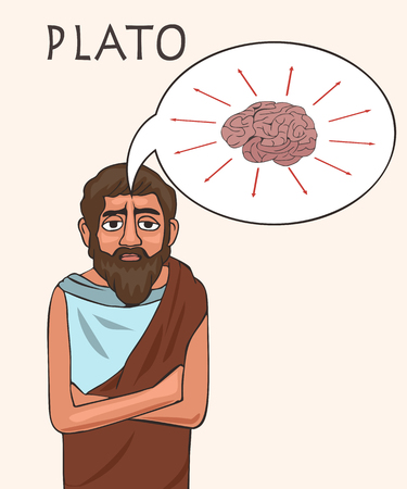 ancient philosopher Plato, vector cartoon portrait of greek historical character Illustration