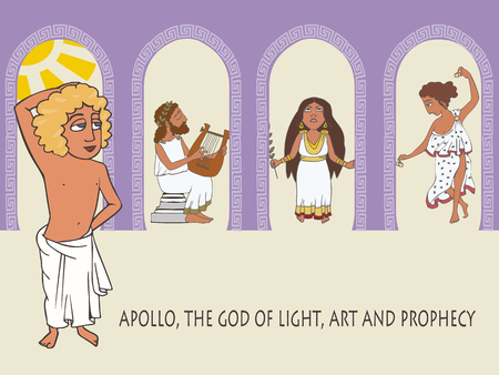 Apollo, God of the Sun, the Music and Prophecy - funny cartoon vector illustratiing greek mythology