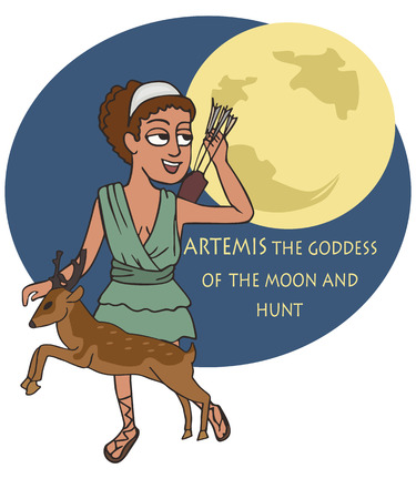 Artemis Greek Goddess of the Hunt and the Moon, funny vector cartoon illustrating classical mythology