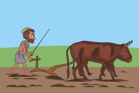 Squadra di arati e buoi che lavorano sul campo, divertente cartone animato vettoriale di origine agricola