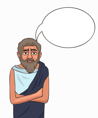ancient philosopher character with thinking bubble, vector cartoon portrait isolated on white background