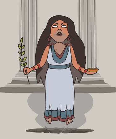Pythia inhales fumes at the temple, vector cartoon illustration of female oracle from Ancient Greece Illustration