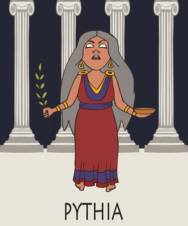 Pythia, greek oracle, cartoon vector portrait of woman at temple in religious ecstasy Illusztráció