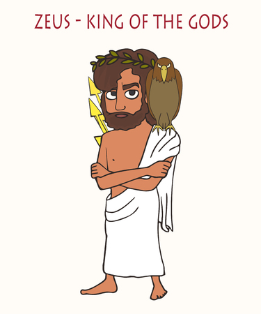Zeus King of the Gods, funny cartoon vector portrait of cartoon deity with eagle sitting on the shoulder