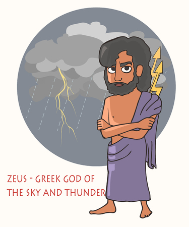 Zeus the god of sky and thunder, funny vector cartoon portrait mythical character