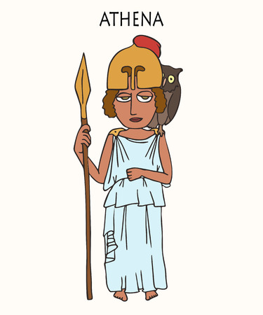 ancient Greek goddess Athena, funny vector cartoon portrait of female deity of wisdom and war strategy