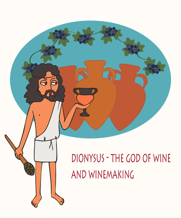 Dionysus the god of wine and winemaking, funny vector cartoon of character from Greek mythology