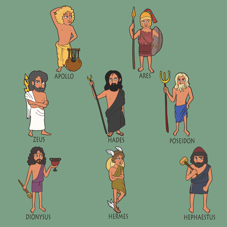cartoon set of ancient male Greek gods, vector portraits of Apollo, Ares, Zeus, Hades, Poseidon, Dionysus, Hermes, Hephaestus