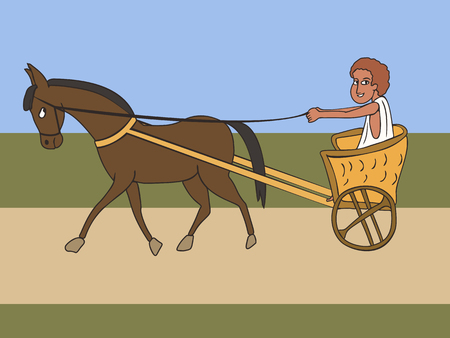 transportation in ancient world, funny vector cartoon of horse-drawn vehicle, two wheels cart and boy driver Иллюстрация