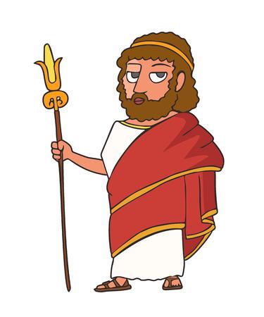 ancien roi grec debout avec tige, personnage de portrait de vecteur de dessin animé