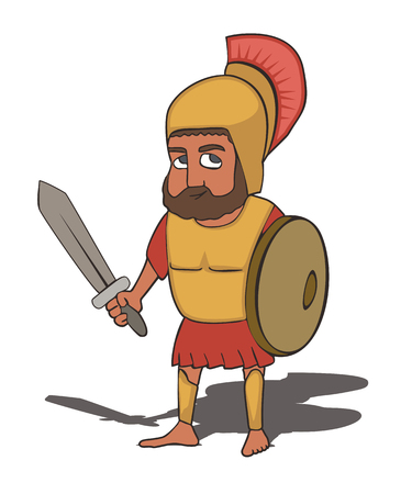 ancient greek hoplite, male character with short sword, shield and helmet,  funny vector cartoon of historical character