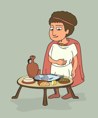 ancient Greek man having dinner, funny vector cartoon illustration of Mediterranean diet origins