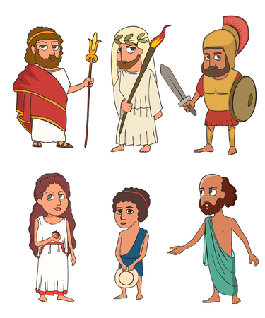 ancient greek people funny characters cartoon set,  vector portraits of king, priest, soldier, woman, child, philosopher