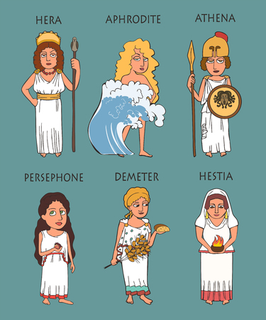 cartoon ancient greek female deities set, six funny characters goddesses including Hera, Aphrodithe, Athena, Persephone, Demeter, Hestia