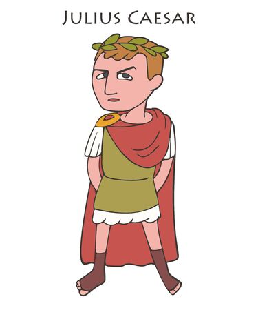 Julius Caesar cartoon vector character colorful portrait from ancient history