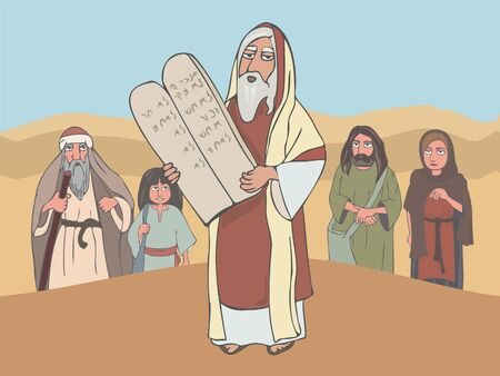 Moses the prophet with Stone Tablets and ancient jewish people listening to his speech, colorful cartoon vector illustration Vector Illustration