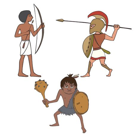 set of ancient warriors, historical characters, vector cartoon illustration of prehistory , ancient egyptian and greek soldiers