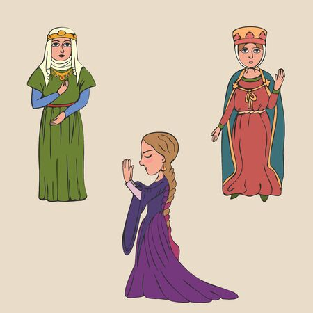 cartoon women in early middle ages clothing, colorful vector character set from medieval history