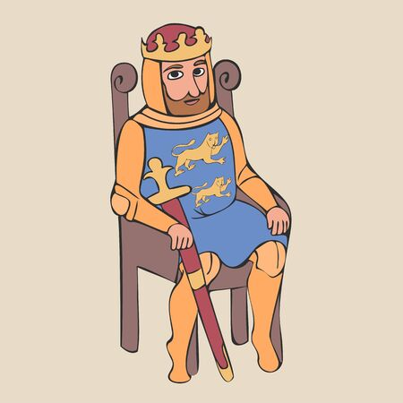 medieval king sitting on the chair, colorful  vector cartoon character from Middle Ages history Иллюстрация