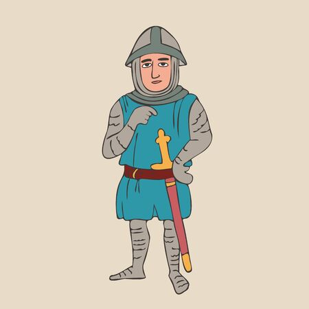 medieval knight in mail, colorful vector cartoon character from Middle Age history