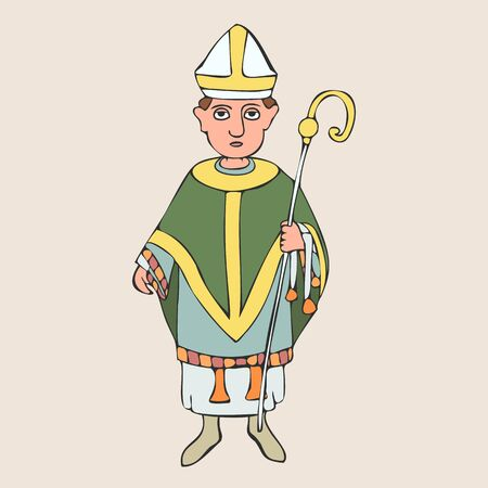 medieval bishop cartoon portrait, colorful vector character from Middle Ages history Иллюстрация