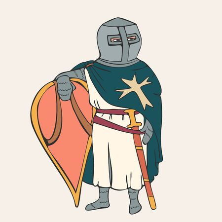 medieval knight, the member of Christian  military order colorful vector character from Middle Ages history