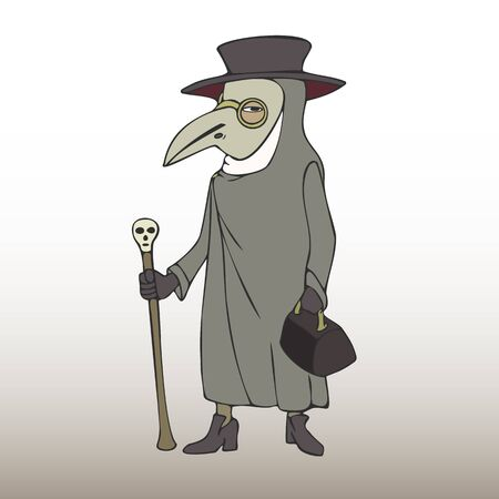 Plague doctor vector cartoon, character in mask and overcoat from Middle Ages history Иллюстрация