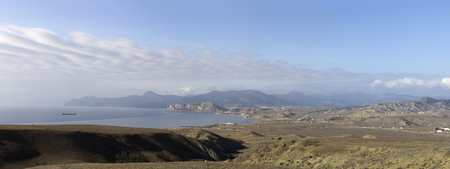 View from Cape Meganom  Crimea, Ukraine  - stithed panorama photo