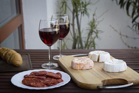 hermelin: Czech Hermelin cheese and wine  Stock Photo