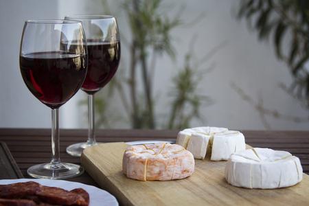 hermelin: Czech Hermelin cheese and wine glasses
