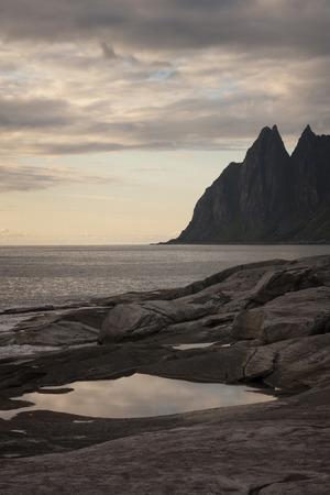 ridge of wave: Devils teeth, rocks on the island of Senja, Northern Norway.