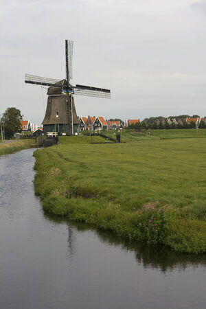 volendam: Traditional Dutch windmill, near Volendam, Netherlands. Stock Photo