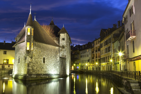 Castle in Annecy at night. France.