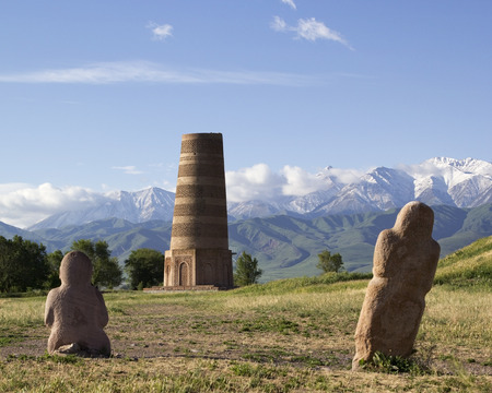 Ancient stone sculptures near Old Burana tower located on famous Silk road, Kyrgyzstan. Reklamní fotografie