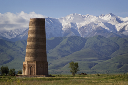 minarets: Old Burana tower located on famous Silk road, Kyrgyzstan.
