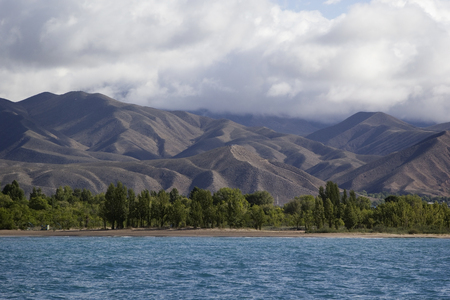 kirgizia: Issyk-Kul lake in Kyrgyzstan, , central Asia.