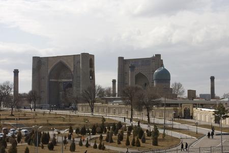 registan: Registan Square in Samarkand, Uzbekistan. Stock Photo