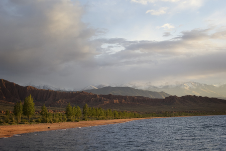 kirgizia: Issyk-Kul lake in Kyrgyzstan, central Asia.