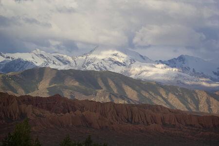 issyk kul: Tricolor mountains near Lake Issyk-Kul, Kyrgyzstan.